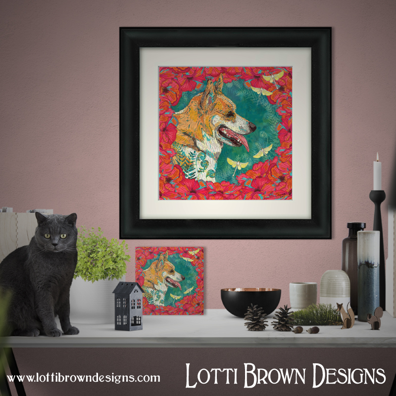 Custom pet portraits by Lotti Brown