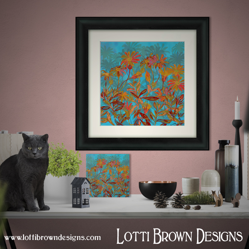 'Fantasy Fall Flowers' colourful art print - get it ready framed in a beautiful frame to match your decor