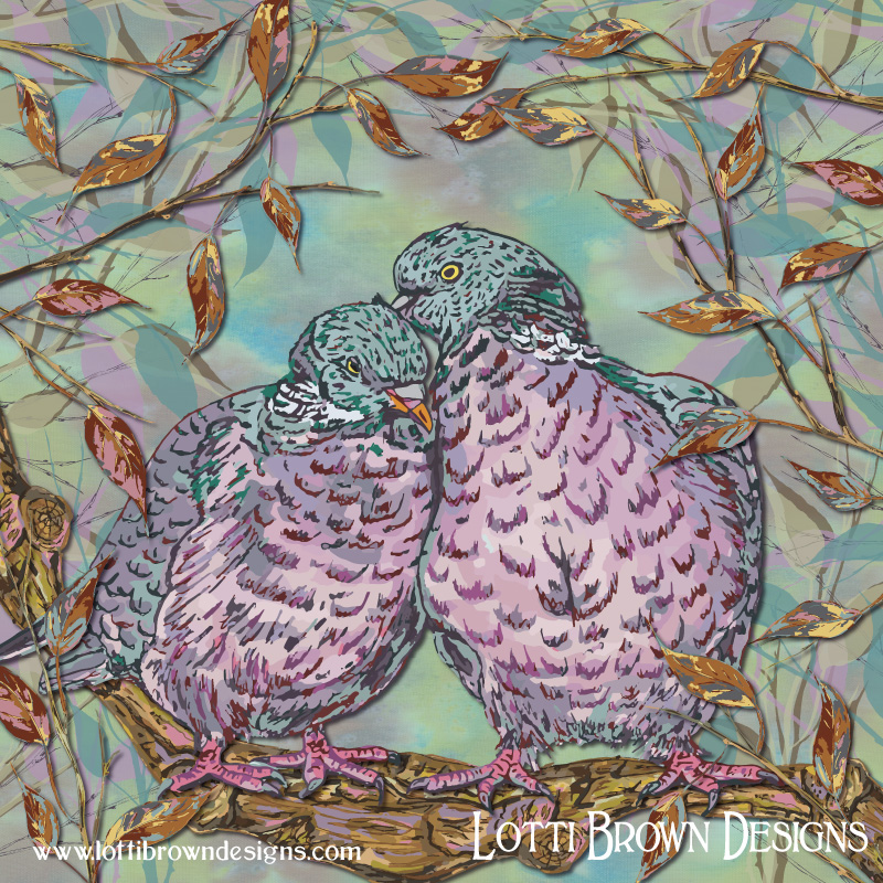The completed woodpigeons artwork - soft colours and sweet loving ring doves