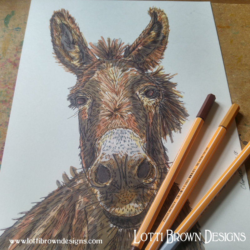 Donkey drawing - click to go behind the scenes of the artwork