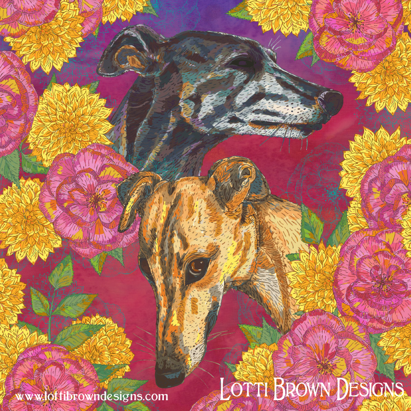 Greyhound pet art prints are available in my online store