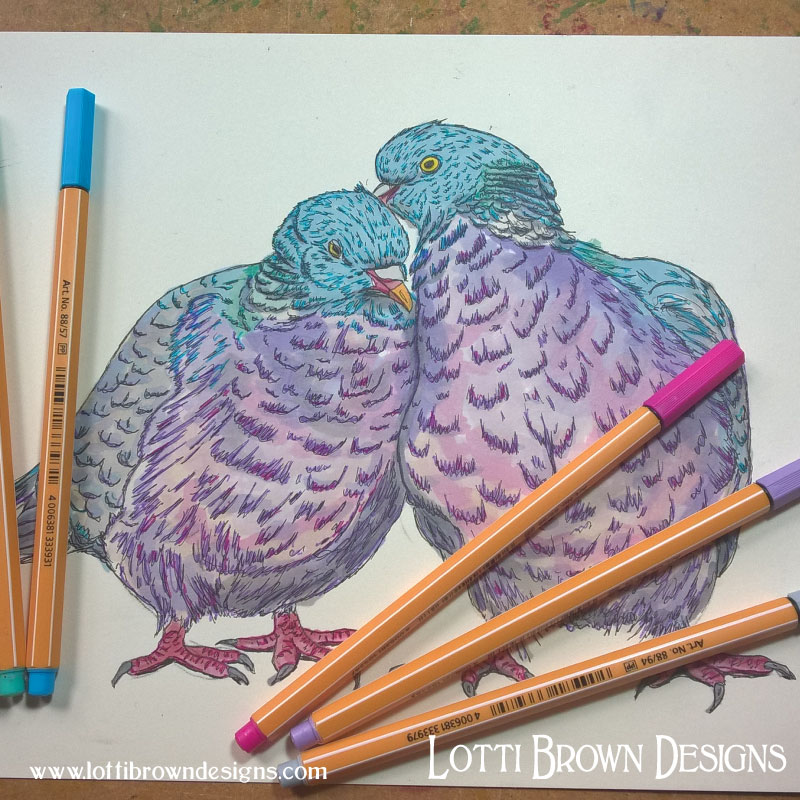 Drawing birds - click to see behind the scenes