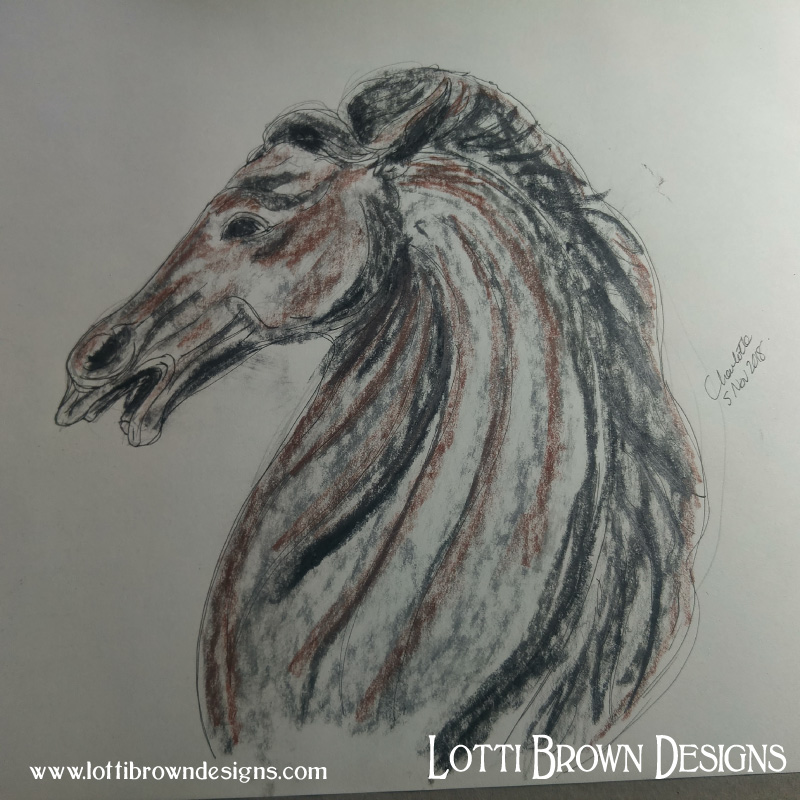 Horse drawing in pen, charcoal and pastel