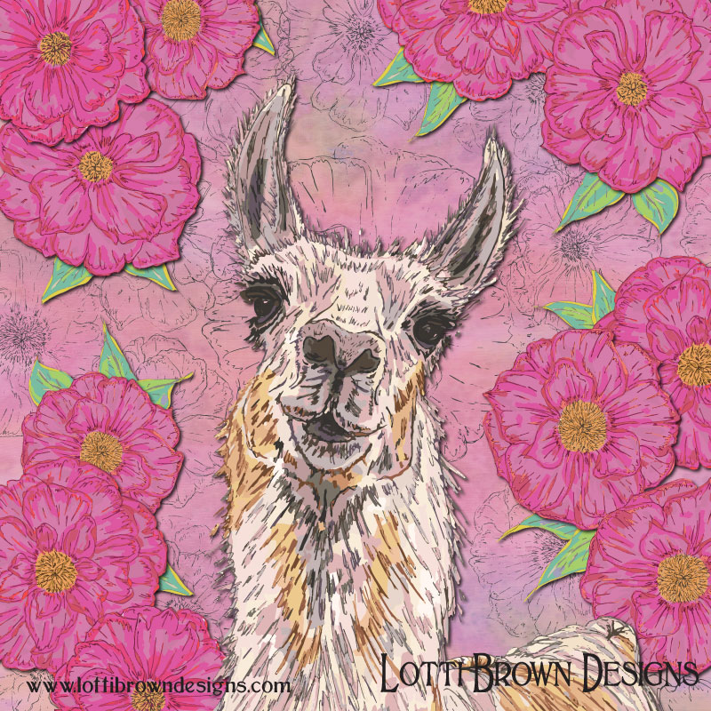 'Perfectly Pink' llama art by Lotti Brown