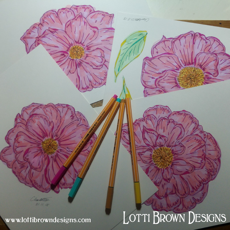 Drawing my peonies