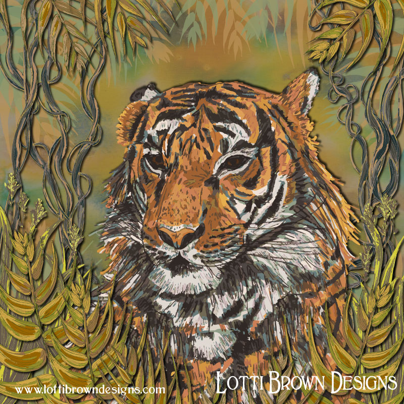 Colourful tiger art by Lotti Brown