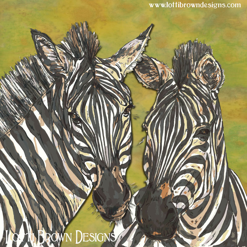 Zebras art by Lotti Brown