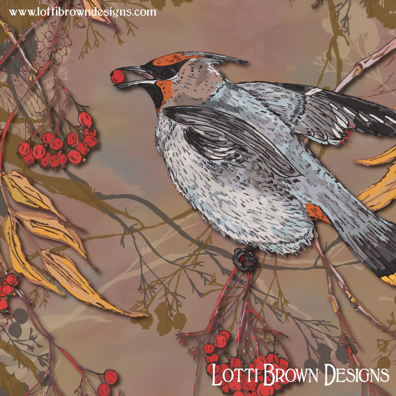 Showing detail from the waxwing artwork