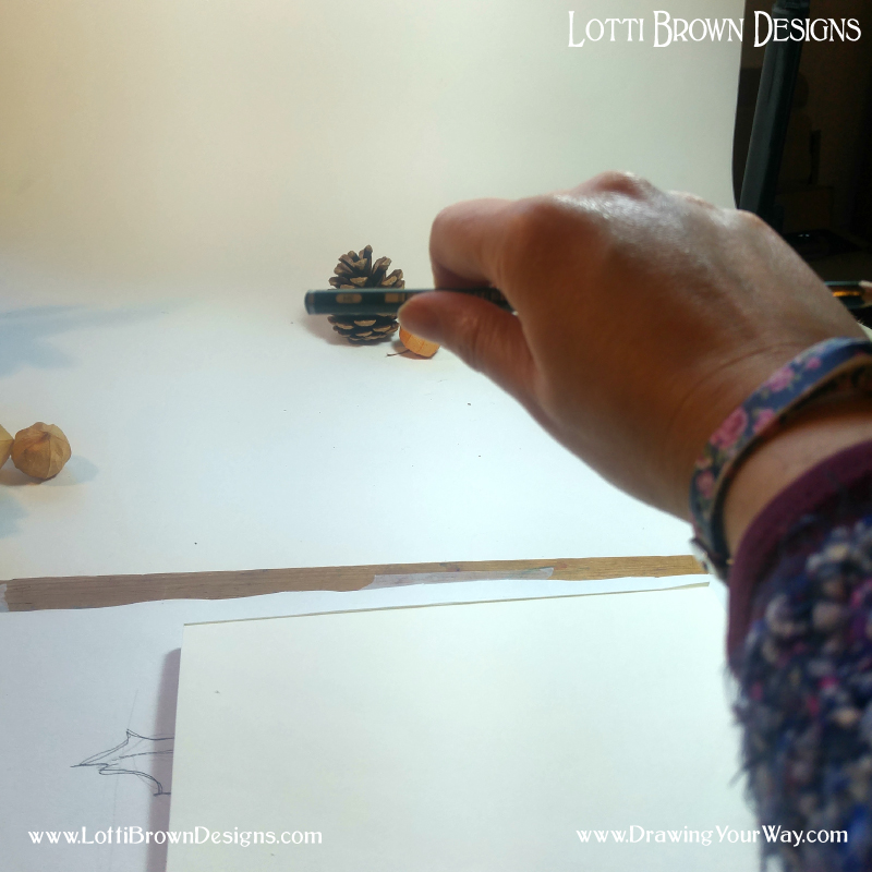 First, I check the width of the pinecone against the pencil and use my thumb to mark the spot
