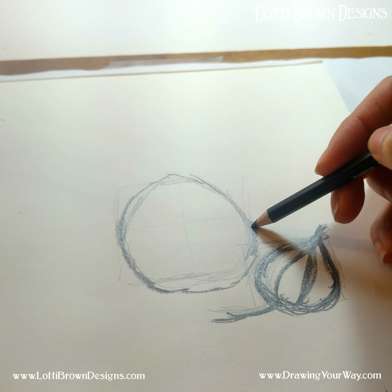 Using a soft B pencil to make the drawing using the outlines as a guide