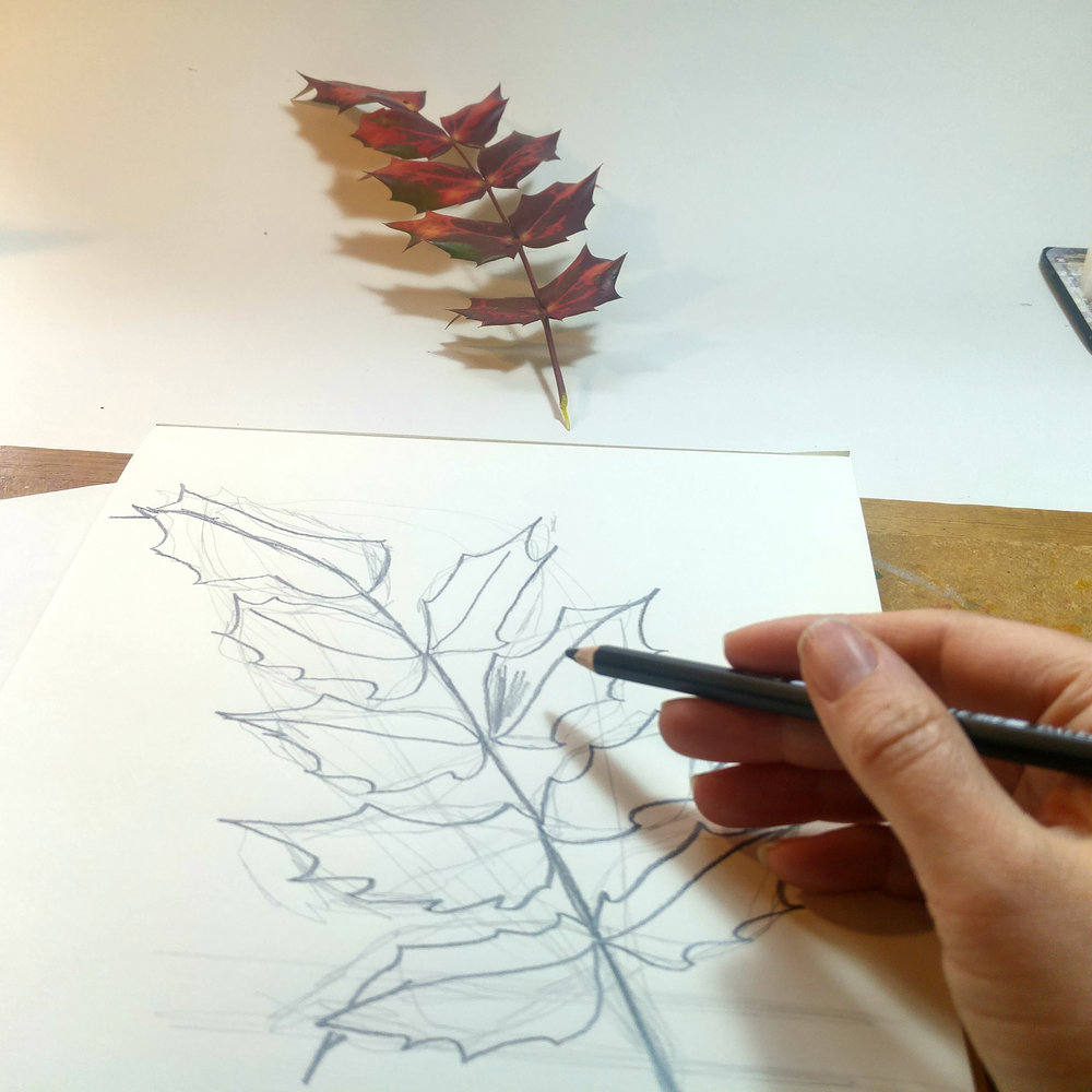 Drawing a firm line with a soft B pencil