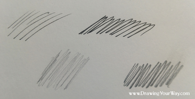 You can get your lines to look a little darker just by pressing a little harder with a pen (top) or pencil (bottom).