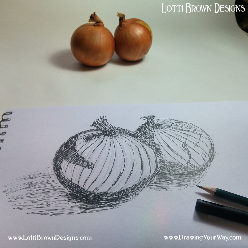 I add in areas of shadow trying to make the direction of my marks follow the rounded shape of the onion