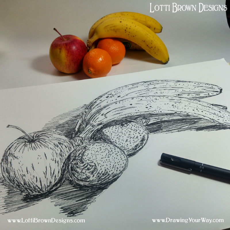 Lines, dots, squiggles and scribbles to show the detail in my drawing in black drawing pen