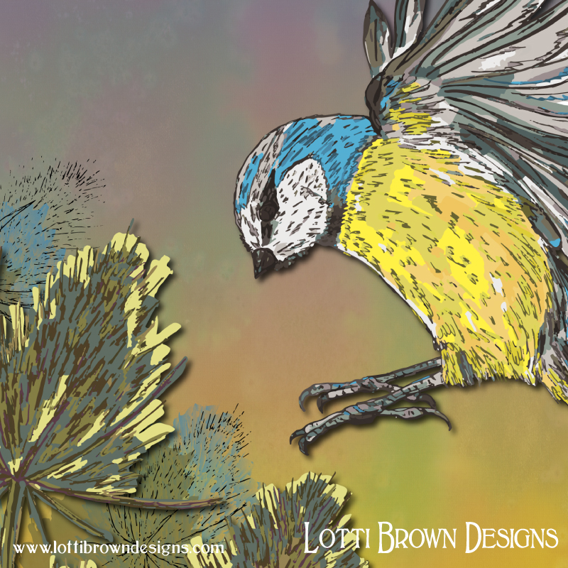 Detail from the 'Blue Tit and Teasels' artwork