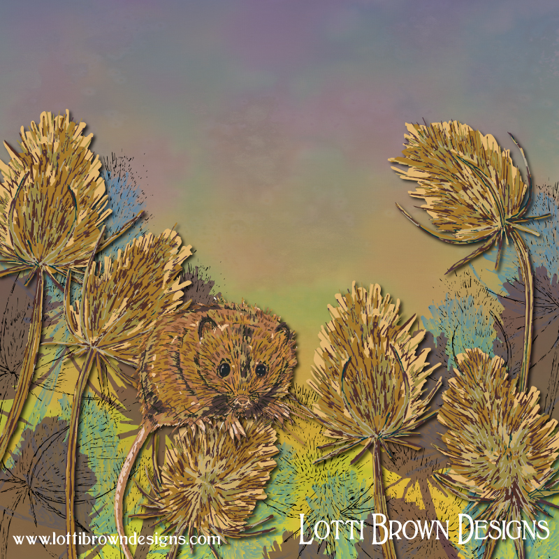 'Harvest Mouse and Teasels' artwork by Lotti Brown