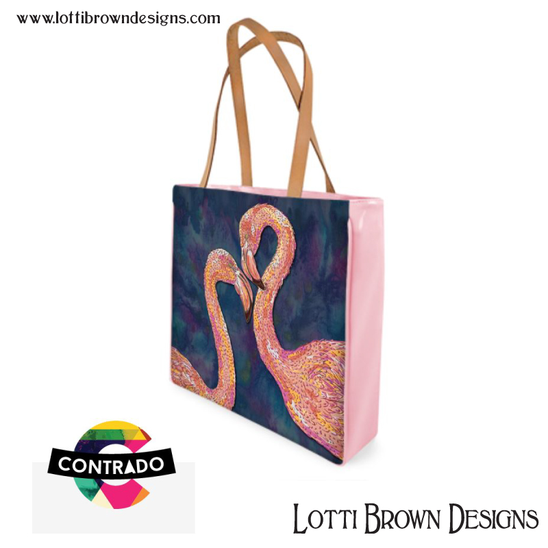 Colourful pink flamingo fashion bag by Lotti Brown at Contrado