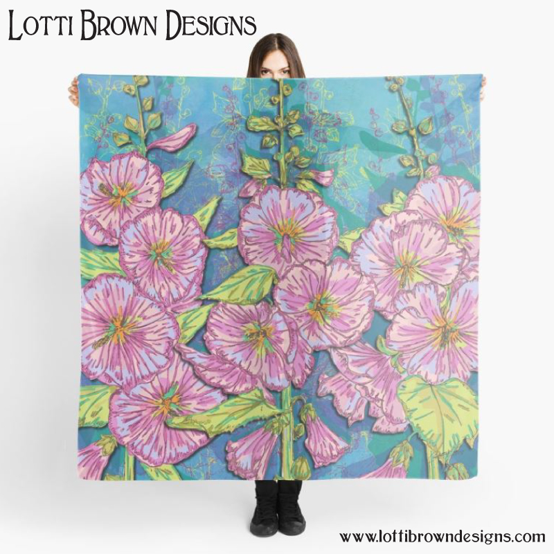 Hollyhocks floral art scarf by Lotti Brown at Redbubble