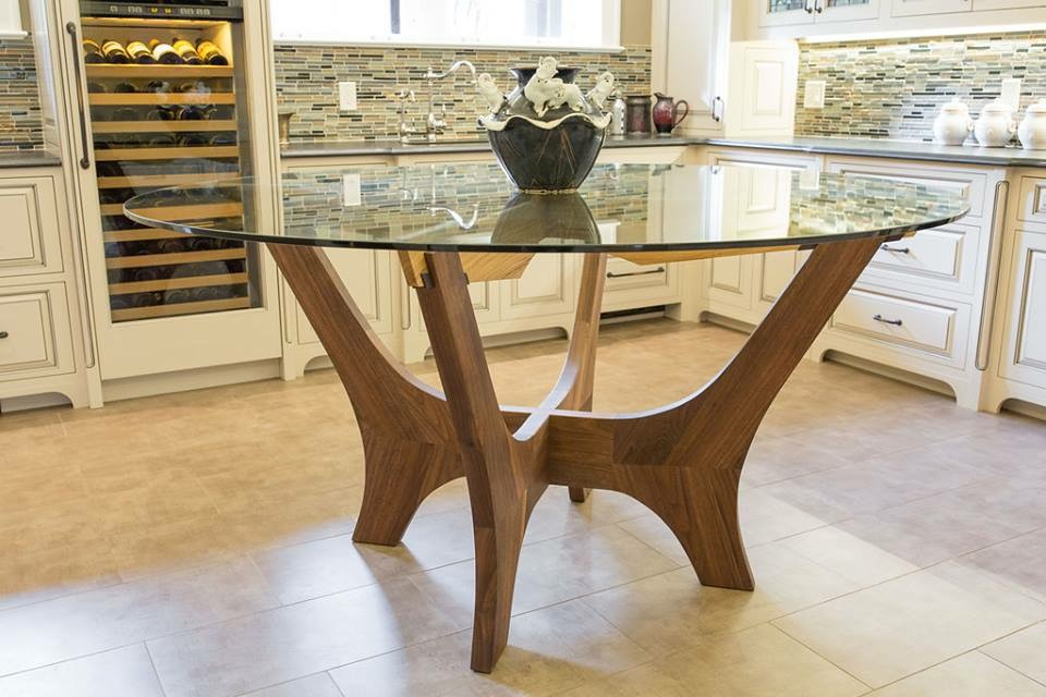 "The Solomon dining table.  Shown in walnut and English oak with a 1/2"" tempered glass."