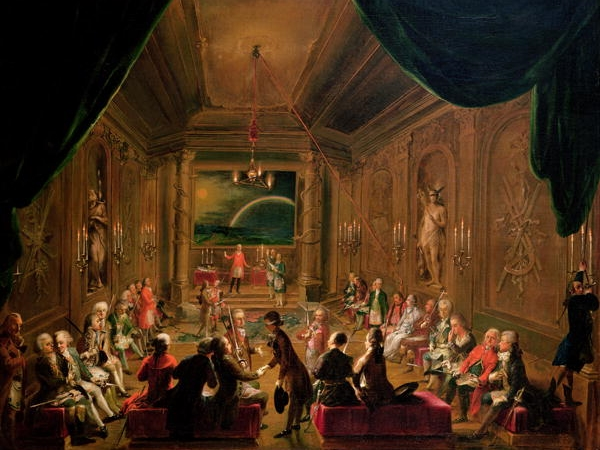 Initiation Ceremony in a Viennese Masonic Lodge during the reign of Joseph II, possibly with Mozart in attendance. Ignaz Unterberger.