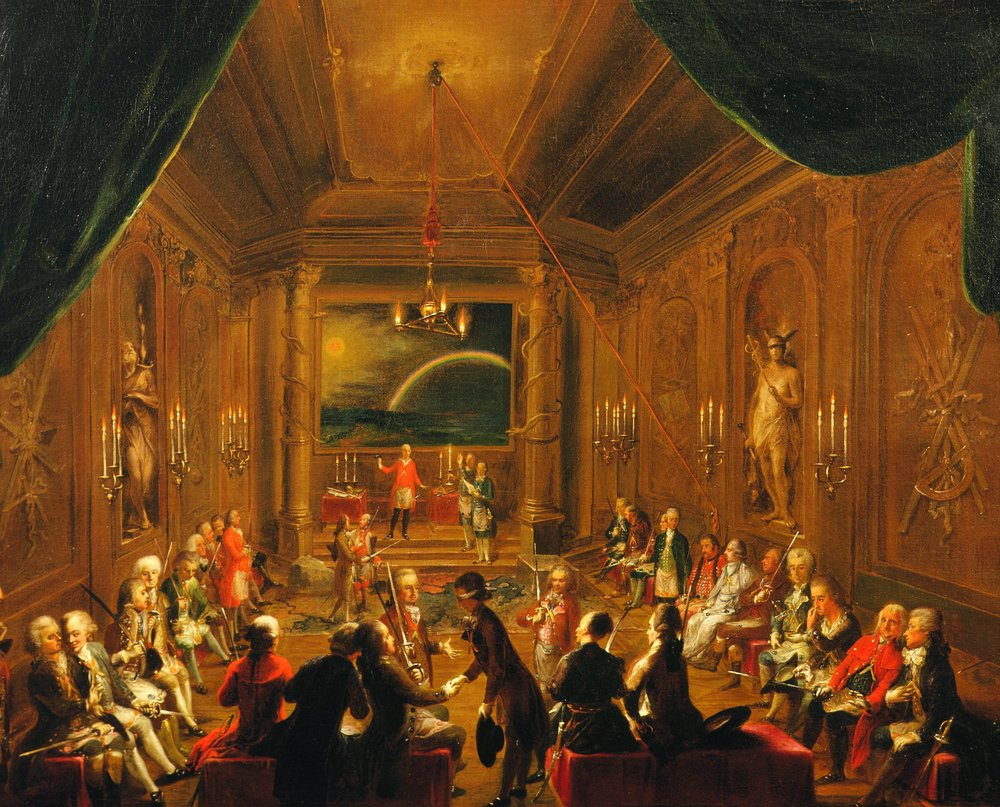 A Masonic lodge meeting of Mozart's day, once thought to portray Mozart's own lodge.   Oil painting (1782), Wienmuseum Vienna.
