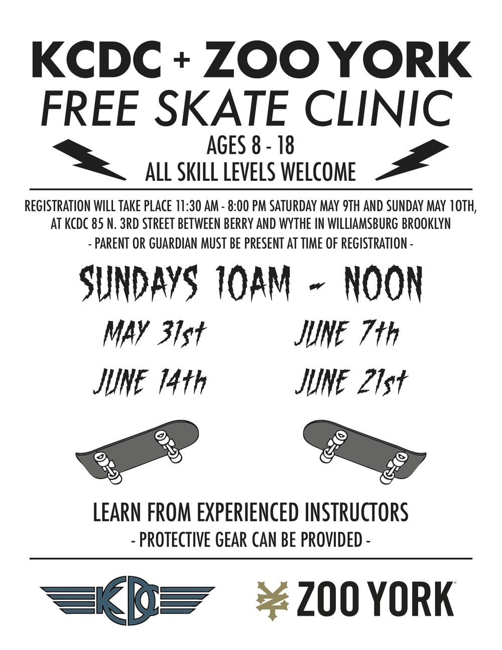 Registration is in person only at Kcdc Skateshop. Parent or Guardian must be present at time of registration. Registration is from 11:30am-8pm this Saturday (5/9) and Sunday (5/10)
