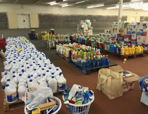 Donated goods awaiting distribution at Belle, West Virginia Warehouse (Photo: Mountain View Conference)