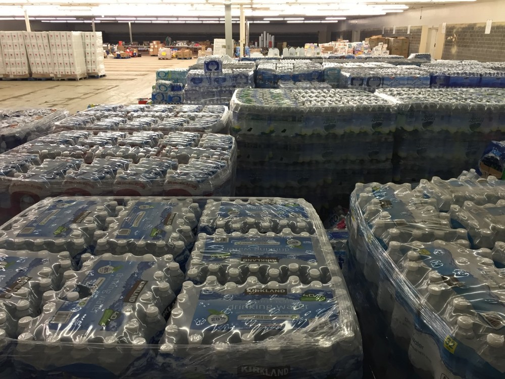 Water bottles and other items stocked up in Warehouse