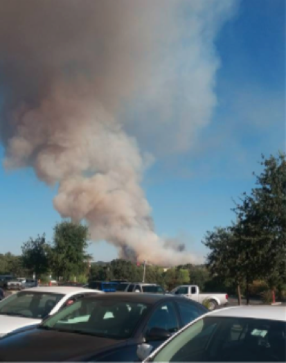 The Clayton fire near Lower Lake, CA, on August 13, 2016, as seen from near St. Helena hospital. Photo by: Lizeth Bedolla.