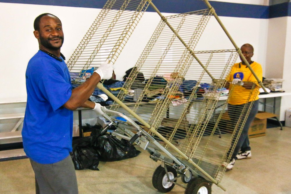 Alvin Decay, a theology student at Oakwood University, and his wife Judith traveled all the way from Huntsville, Ala to help flood victims in Baton Rouge.  Photo by Stephen Ruf.