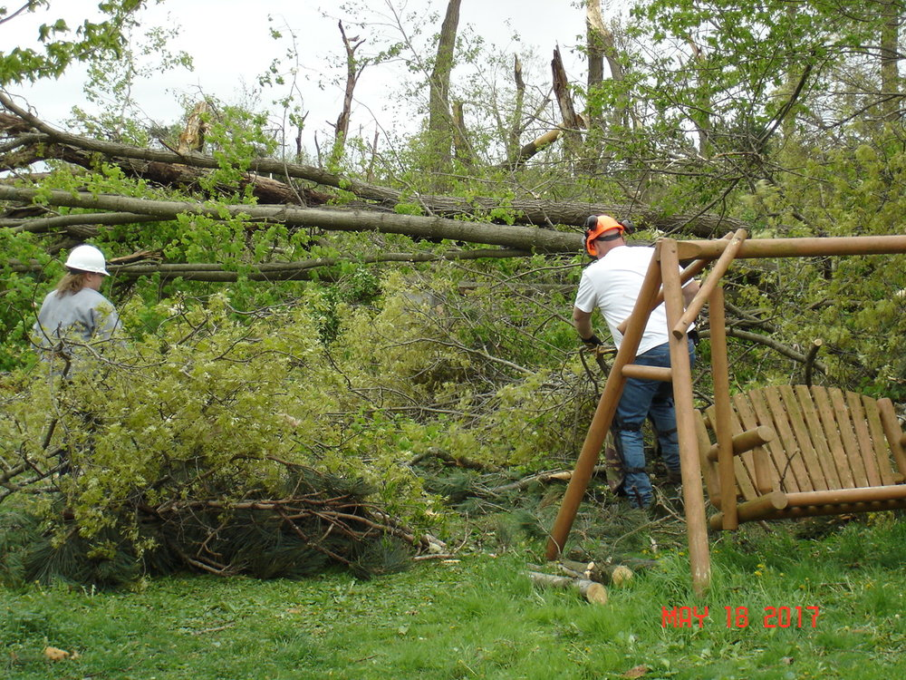Chainsaw team at work, clearing away the yard from the house.