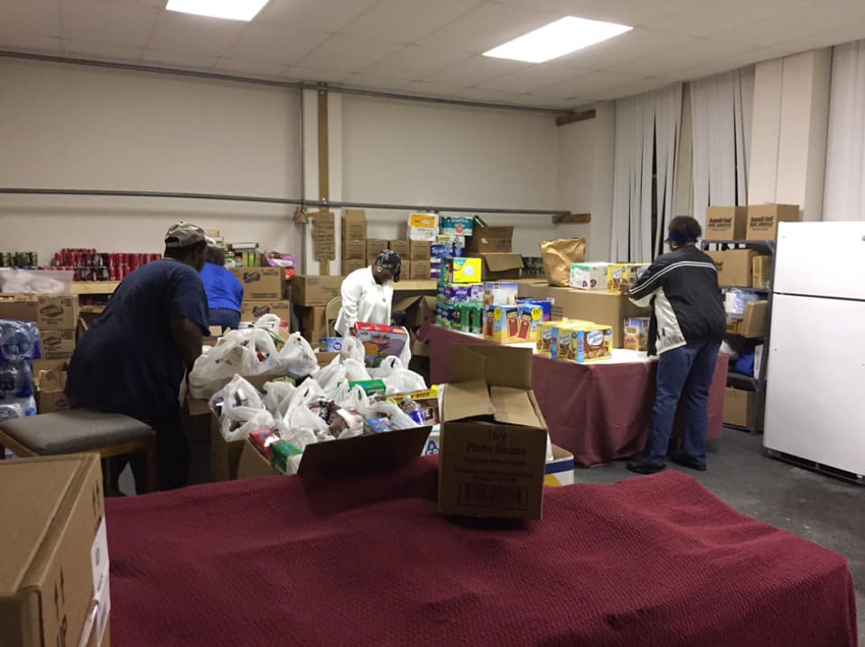 ACS volunteers restocking donated supplies at the Wilmington Distribution site.