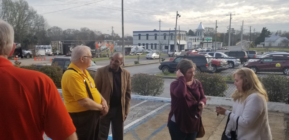 Ray Elsberry and Derrick Lane in front of Lee County Operations Center after meeting with County leadership.