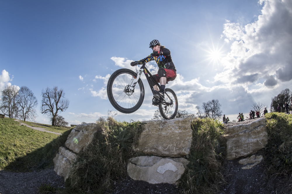 Hadleigh MTB rider Jez Vince putting the new Hadleigh skills section through it's paces