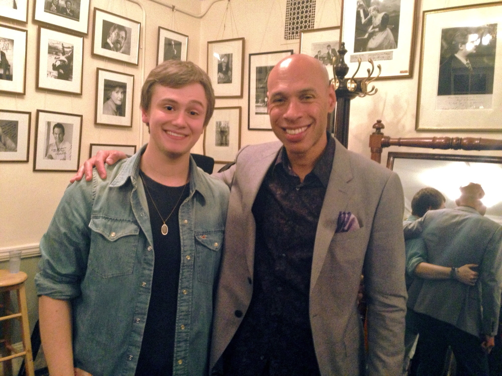 Harry Bolt backstage at the Wigmore Hall with Joshua Redman.