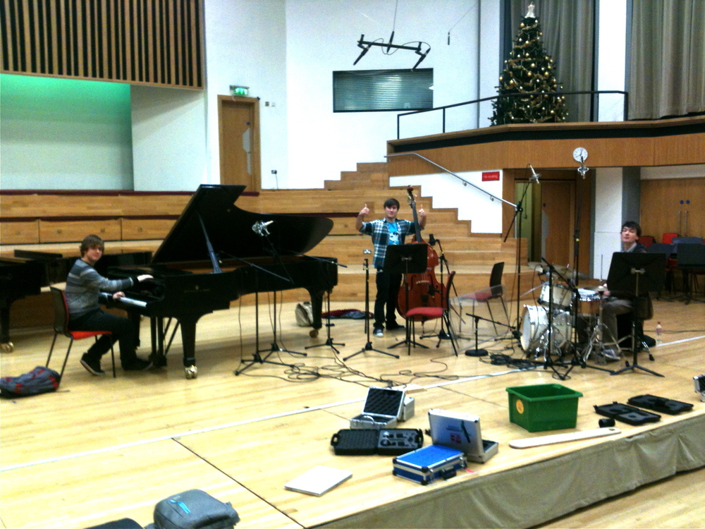Early Harry Bolt Trio recording session in the Adrian Boult Hall, Birmingham.