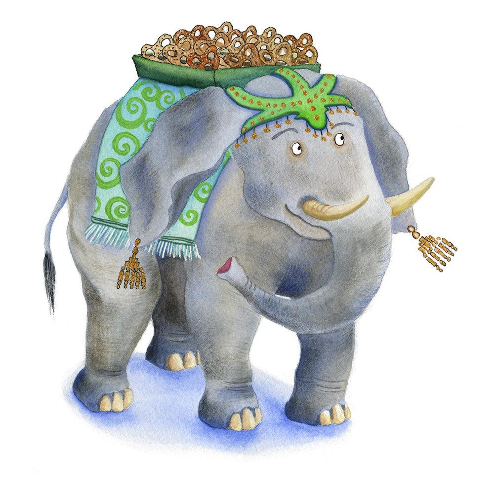 Mama elephant carries a party tray of pretzel treats.