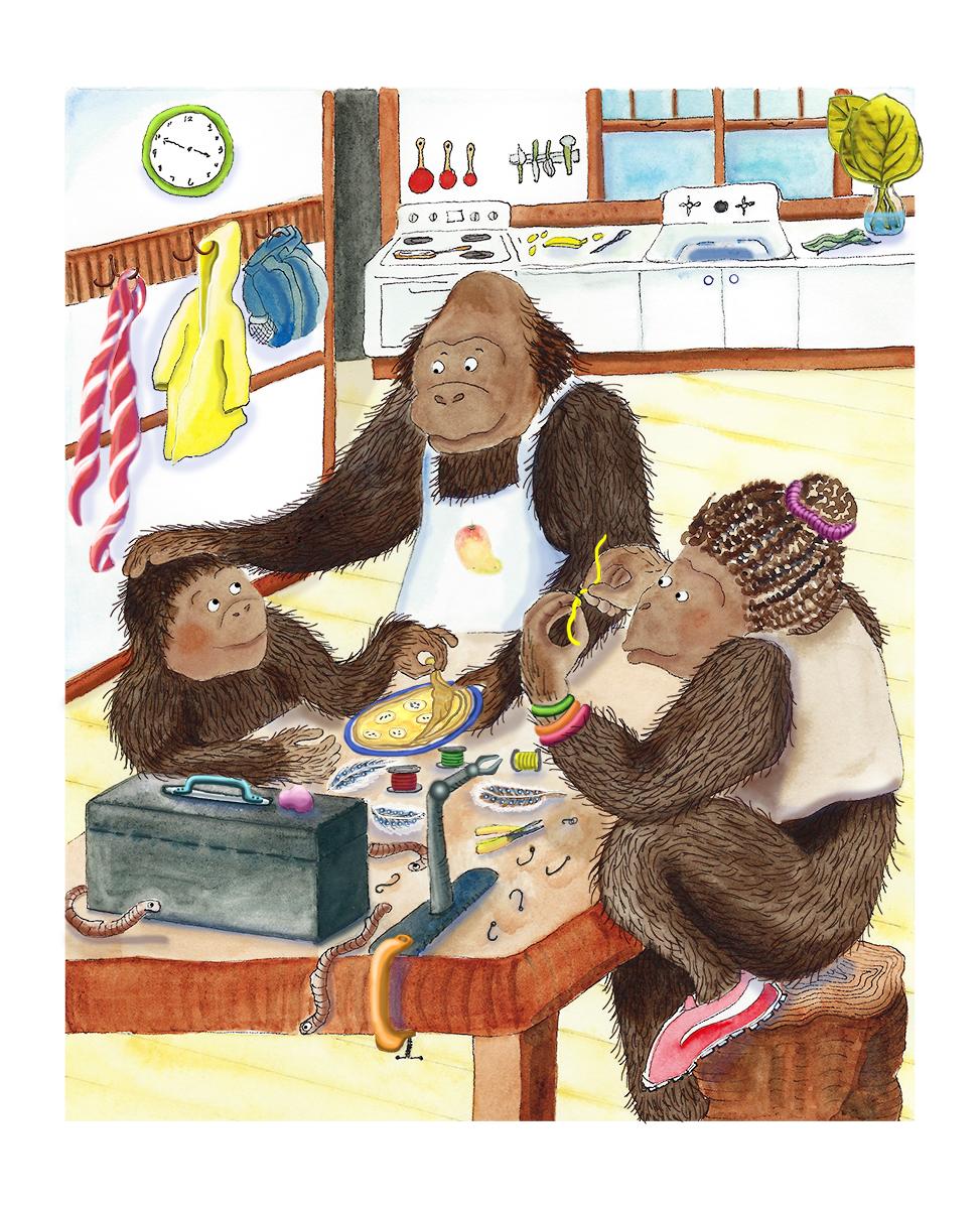 A gorilla family enjoys snacks and tying flies.