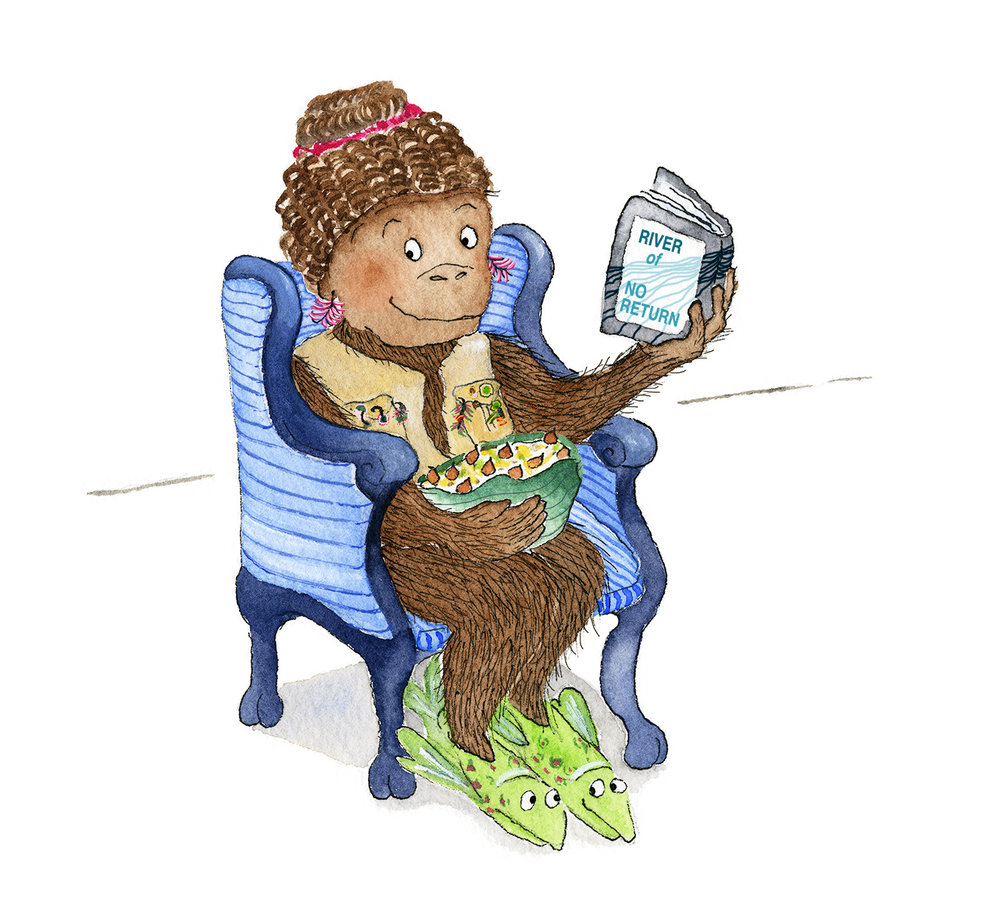 Mrs. Gorilla enjoys a snack and a good book.