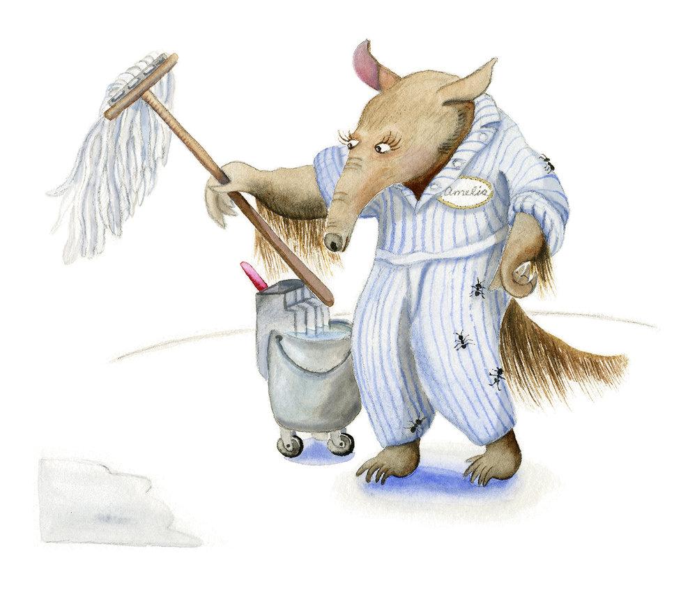 Amelia Anteater prepares the mop.