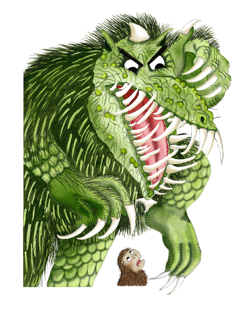 The green monster flashes his long sharp teeth in a wicked snarl.