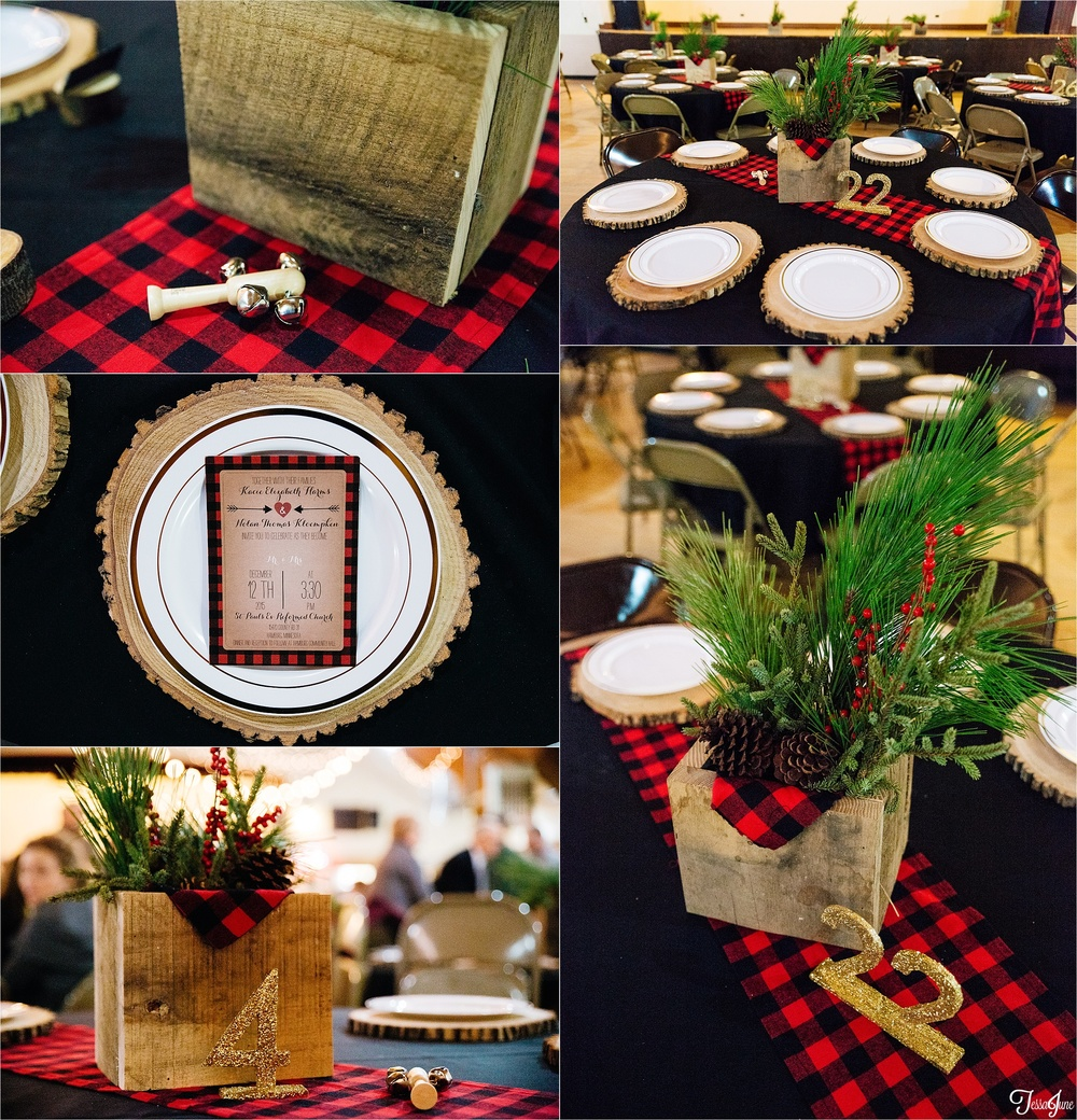 st-cloud-minnesota-wedding-photography-hamburg-winter-buffalo-plaid-rustic-reception-decorations