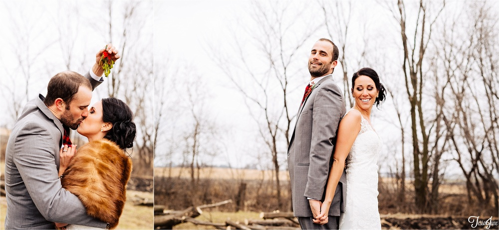 st-cloud-minnesota-wedding-photography-hamburg-winter-buffalo-plaid-rustic-mistletoe-kiss