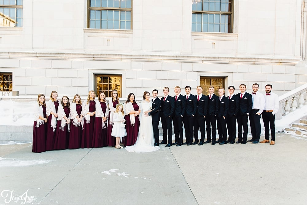 st-cloud-minnesota-wedding-photographer-rice-park-winter-maroon-bridal-party