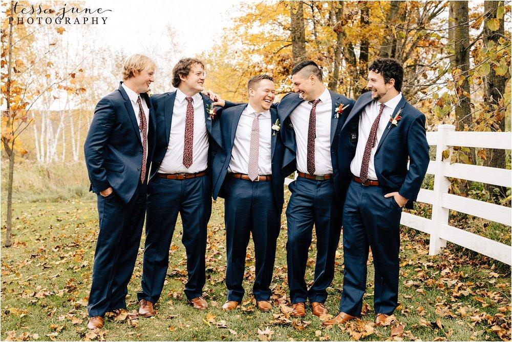 birch-hill-barn-october-wedding-wisconsin-groomsmen-mismatched-tie