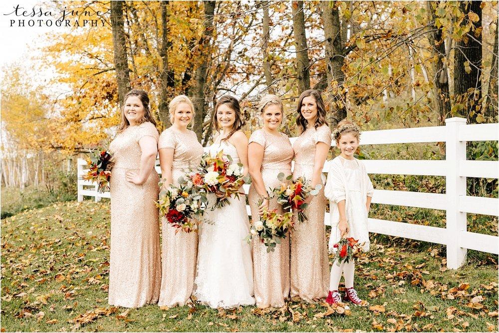 birch-hill-barn-october-wedding-wisconsin-glitter-bridesmaids-dresses