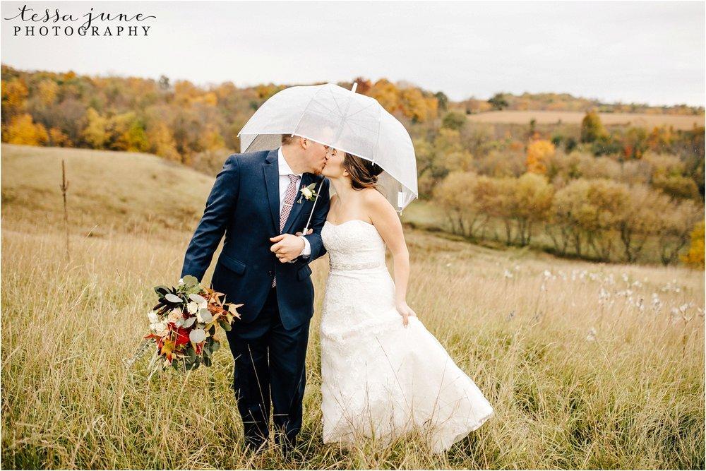 birch-hill-barn-october-wedding-wisconsin-umbrella-raining