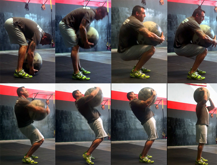 Once the stone is brought to the lap(picture 3-4). The stone is brought up the body with a strong thoracic position and explosive hip drive(picture 4-8).