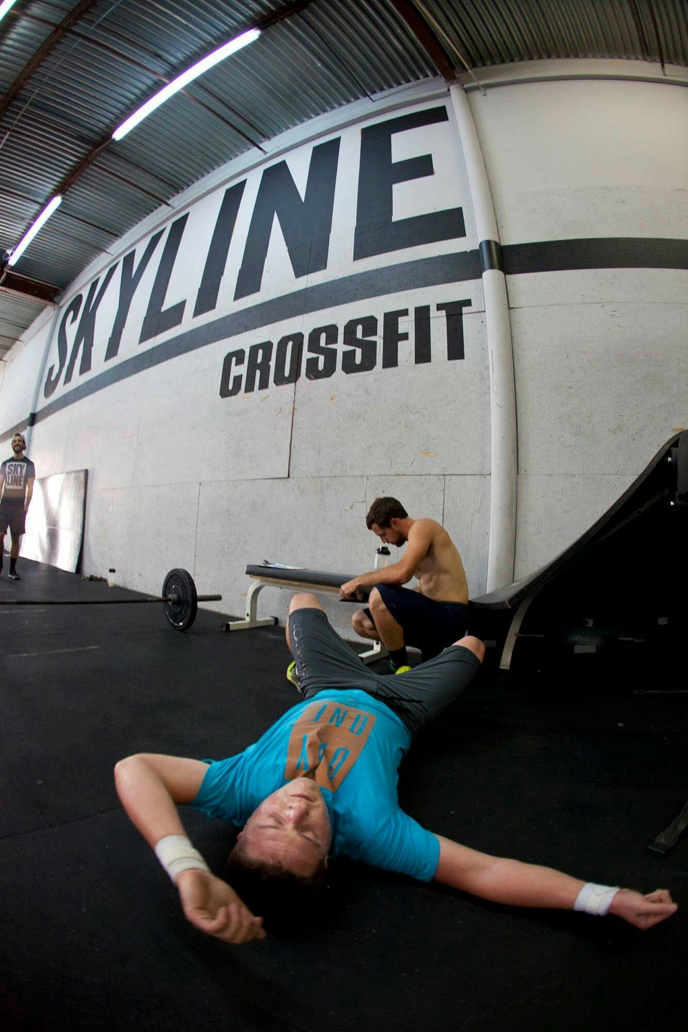 Mike taking a ritual post nap after the WOD.