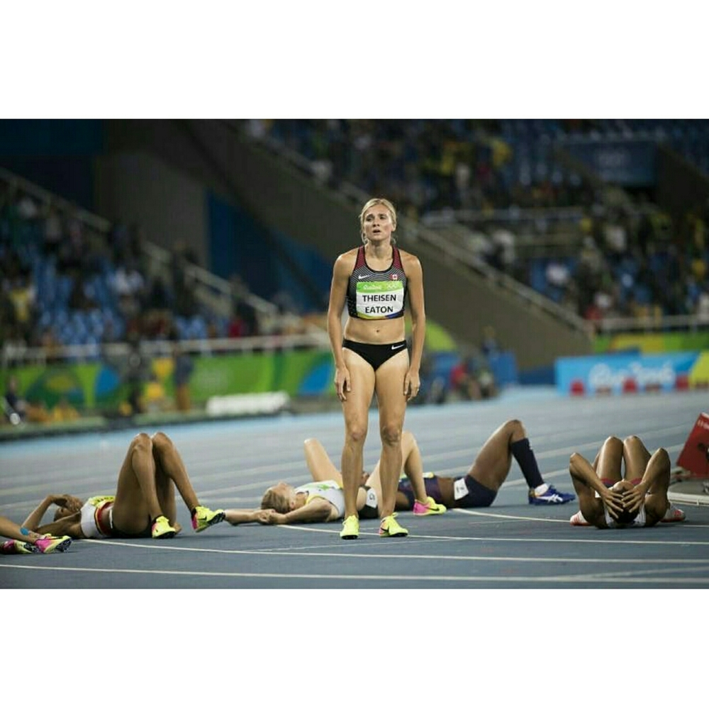 This is the scene  of the finish line after these ladies final 800m. This was the final event of the womens heptaholon.